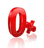 Red Zero percent 3D style. Stock Photo
