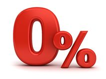 Red zero percent or 0 % isolated over white background royalty free stock images
