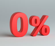 Red zero with percentage sign on gray background. Red zero percent sign on gray background. Business concept. 3d rendering Royalty Free Stock Image