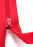 Red zipper closeup Royalty Free Stock Images