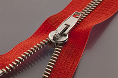 Red zipper Royalty Free Stock Images