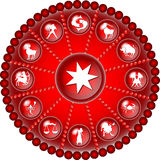Red zodiac disc. Illustration of a red zodiac disc vector illustration