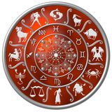 Red Zodiac Disc. An illustration of a round red disc, with zodiac symbols / Sun-signs on it vector illustration