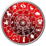 Red Zodiac Disc with Signs and Symbols Royalty Free Stock Images