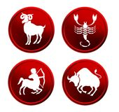 Red zodiac signs - set 2 Stock Photo