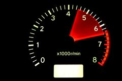 Red zone. Tachometer reaching the red zone Royalty Free Stock Photography