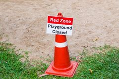 Red Zone Playground Closed sign posting at a children playground. During high air pollution season in Thailand Stock Photography