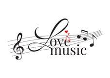 Redacción de diseño, música del amor, etiquetas de la pared stock de ilustración