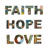 Redacta la fe, esperanza, zentangle del amor estilizado en el fondo blanco, Imagenes de archivo