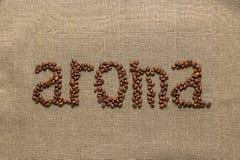 """Redacte """"aroma"""" de los granos de café Fotos de archivo libres de regalías"""