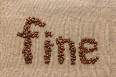 """Redacte """"fine"""" de los granos de café Imagen de archivo"""