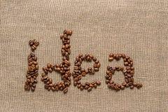 """Redacte """"idea"""" de los granos de café Fotos de archivo libres de regalías"""