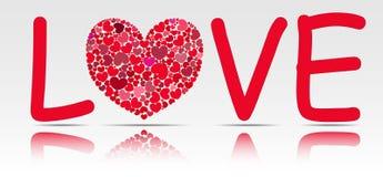 Redacte el amor con un corazón del vidrio en vez del O. Fotografía de archivo