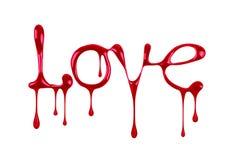 Redacte el amor escrito por el esmalte de uñas en el fondo blanco Fotografía de archivo