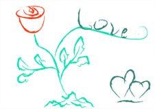 Redacte el amor, una rosa roja y dos corazones Día del `s de la tarjeta del día de San Valentín imagen de archivo libre de regalías