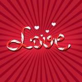 Amor escrito con las letras del bastón de caramelo Fotografía de archivo