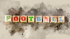 Redacte el ` del fútbol del ` construido de bloques de madera fotos de archivo