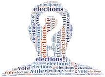 Redacte el ejemplo de la nube relacionado con las elecciones o la votación Fotos de archivo libres de regalías