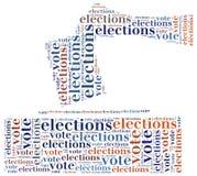 Redacte el ejemplo de la nube relacionado con las elecciones o la votación Fotografía de archivo libre de regalías