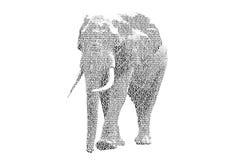 Redacte el elefante mezclado para ser figura del elefante, con el st de la tipografía stock de ilustración
