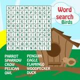 Redacte el juego de búsqueda. pájaros Imagen de archivo libre de regalías