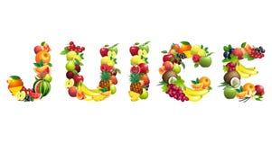 Redacte el JUGO integrado por diversas frutas con las hojas Imagenes de archivo