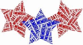 Redacte el Memorial Day de la nube relacionado en la forma de estrellas Fotos de archivo libres de regalías