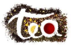 Redacte el té hecho de diversa variedad de té Aislante en blanco Fotos de archivo