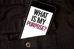 Redacte el texto de la escritura cuál es mi pregunta del propósito Concepto del negocio para el negro c del teléfono celular de l foto de archivo libre de regalías