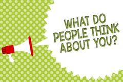 Redacte el texto de la escritura qué hacen a gente piensan en usted la pregunta Concepto del negocio para la opinión de otras lou libre illustration