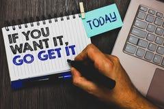 Redacte el texto de la escritura si usted lo quiere, van lo consiguen El concepto del negocio para que las acciones Make logren s Foto de archivo libre de regalías