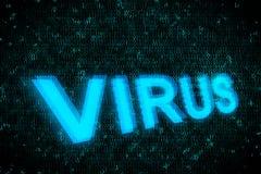 Redacte el virus que brilla intensamente para arriba en la pantalla con el fondo digital azul imagen de archivo