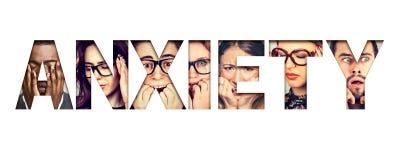 Redacte la ansiedad integrada por caras subrayadas ansiosas de hombres y de mujeres foto de archivo