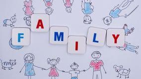 Redacte a la FAMILIA sobre el fondo del dibujo del ` s de los niños Pare el movimiento libre illustration