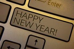 Redacte la llamada de motivación de la Feliz Año Nuevo del texto de la escritura Concepto del negocio para el marrón de celebraci Fotografía de archivo libre de regalías