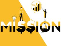 Redacte la misión y a la gente del concepto que hacen actividades promocionales ilustración del vector