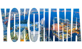 Redacte YOKOHAMA sobre la opinión aérea de la noche del paisaje urbano de Yokohama fotos de archivo libres de regalías