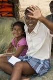 Redactie illustratief beeld Kind met grootouders Stock Foto