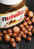 Redactiefoto van de uitgespreide kruik van Nutella hazelnoot  royalty-vrije stock foto