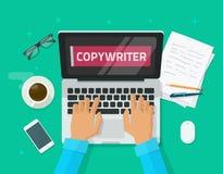 Redactor de anuncios que trabaja en el ejemplo del vector del artículo de la escritura del ordenador portátil Foto de archivo libre de regalías