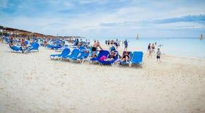 Redakcyjna panorama Malia Las Dunas hotelu plaża w Kuba obraz stock