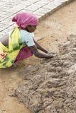Redakcyjny illustrative wizerunek Biedna pracownik kobieta w India Obraz Royalty Free