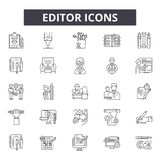 Redaktörlinje symboler, tecken, vektoruppsättning, översiktsillustrationbegrepp royaltyfri illustrationer