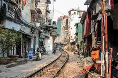 Redaktörs- bild av stångho staden av Hanoi, Vietnam - Januari 2014 Royaltyfri Bild