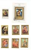 Redaktörs- bild: en samling av stämplar från 70-tal med Mary och Jesus Arkivbilder
