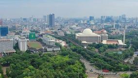 Redaktörs- Cityscapetimelapse av Jakarta Indonesien, bästa sikt stock video