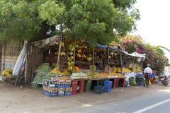 Redaktörs- illustrativ bild Shoppa av frukter och grönsaker Arkivbilder