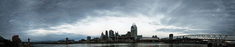 REDAKTÖRS- panorama av Cincinnati Ohio Royaltyfri Fotografi