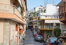redaktionell April 2019 Saloniki, Griechenland Wenig Stra?e in der oberen Stadt in Saloniki, Griechenland lizenzfreie stockbilder