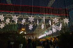 redaktionell Kyiv/Ukraine - Januar, 13, 2018: Weihnachtsdekorationen auf Sophia Square in der Mitte von Kiew, Ukraine lizenzfreie stockbilder